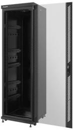 "Szafa Lanberg stojąca 19"" 37U 600X600 czarna, szklana, FLAT PACK (FF02-6637M-12B)"