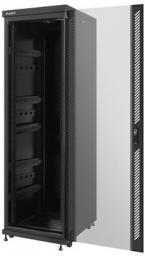 "Szafa Lanberg stojąca 19"" 37U 600X800 czarna, szklana, FLAT PACK (FF02-6837M-12B)"