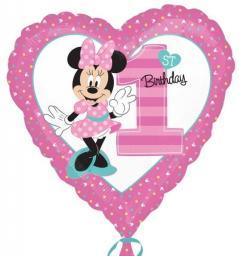 AMSCAN Balon foliowy standard - Minnie 1 urodziny (3435001)