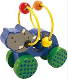 Playme Drewniane zwierzątko do pchania Nosorożec - 264767