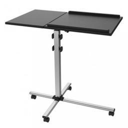 Techly mobilny stolik pod projektor i notebook z dwoma półkami czarny (101485)