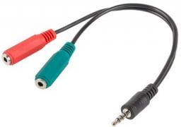 Adapter AV Lanberg Stereo Jack Mini 4-pin -> 2x Jack Mini (AD-0023-BK)