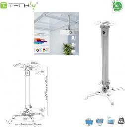 Uchwyt do projektorów Techly regulowany    55-90 cm, sufitowe, srebrny (309661)