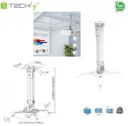 Uchwyt do projektorów Techly regulowany 38-58 cm, sufitowe, srebrny (309654)