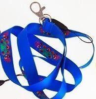 Folkstar Smycz do kluczy - koguty niebieska 1,5cm (265149)