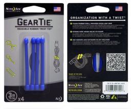 Organizer Nite Ize Zestaw linek Gear Tie Original 3'' gumowy niebieski 4 sztuki (GT-4PK-03)