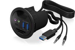 HUB USB RaidSonic Hub biurkowy 3x  USB 3.0, 2x jack  (IB-HUB1404A)
