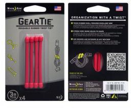 Organizer Nite Ize Zestaw linek Gear Tie Original 3'' gumowy czerwony 4 sztuki Nite Ize (GT3-4PK-10)