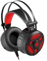 Słuchawki z mikrofonem Genesis NAUSZNE NEON 360 PODŚWIETLENIE CZARNO-CZERWONE (NSG-1107)