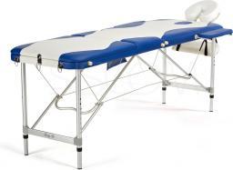 BODYFIT Łóżko do masażu 3 segmentowe aluminiowe biało-niebieskie