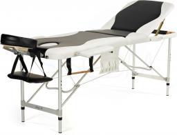 BODYFIT Łóżko do masażu 3 segmentowe aluminiowe czarno-białe