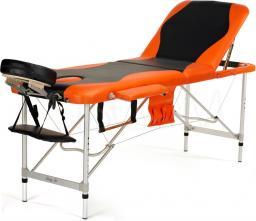 BODYFIT Łóżko do masażu 3 segmentowe aluminiowe czarno-pomarańczowe