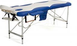 BODYFIT Łóżko aluminiowe do masażu 2 segmentowe biało - niebieskie