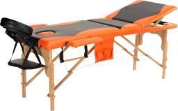 BODYFIT Łóżko do masażu 3 segmentowe czarno-pomarańczowe (1029)