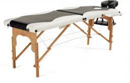 BODYFIT Łóżko do masażu 2 segmentowe dwukolorowe czarno-białe