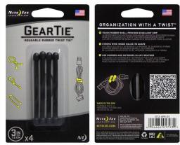 Organizer Nite Ize Zestaw linek Gear Tie Original 3'' gumowy czarny 4 sztuki (GT3-4PK-01)