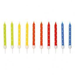AMSCAN Świeczki urodzinowe kolorowe w groszki 24 sztuki (9900924)