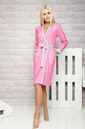 9b9e57d864cf09 L&L Szlafrok damski darcy długi crystal pink szaro-biało-różowy r. M ...
