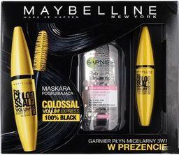 Maybelline  MAYBELLINE SET The Colossal Volum Express Mascara tusz do rzęs 100% Black 10,7ml + GARNIER Micellar Cleansing płyn micelarny do skóry wrażliwej 125ml  - 5907245464572