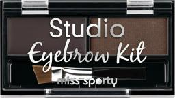Miss Sporty Paleta do makijażu brwi Studio Eyebrow Kit 001 Medium Brown 1.1g