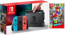 Switch czerwono-niebieska + Super Mario Odyssey