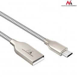 Kabel USB Maclean Micro USB metalowy silver Quick & Fast Charge (MCE190)