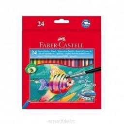 Faber-Castell Kredki Akwarelowe Z Pędzelkiem 24 Kolory Rybka Opakowanie Kartonowe Faber-Castell (114425 FC)