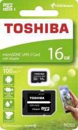 Karta Toshiba MicroSDHC M203 16GB UHS-I + adapter (THN-M203K0160EA)