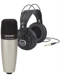 Mikrofon Samson C01 XLR pojemnościowy mikrofon doręczny + SR850 Słuchawki studyjne (SAC01850)