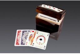 Piatnik Karty Lux w budełku drewnianym pionowym 2 talie