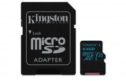 Karta MicroSD Kingston 64GB microSDXC Canvas Go 90R/45W U3 UHS-I V30 Card + SD Adapter (SDCG2/64GB)