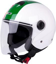 W-TEC Kask otwarty na skuter chopper FS-715 Biało-zielony r. M (57-58) (15333)