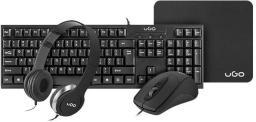 Klawiatura + mysz UGO Zestaw 4 w 1 biurowy klawiatura + mysz + słuchawki + podkładka (UHD-1136)