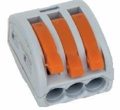 Simet Uniwersalna złączka do przewodów jedno- i wielodrutowych, 3-torowa 2,5mm2 24A szara (ZU-403) (85123000)