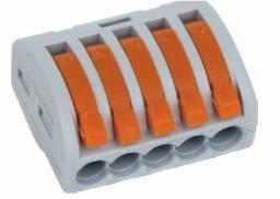 Szybkozłączka Simet Uniwersalna do przewodów jedno- i wielodrutowych, 5-torowa 2,5mm2 24A szary (ZU-405) (85125000)