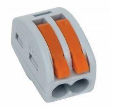 Szybkozłączka Simet Uniwersalna złączka do przewodów jedno- i wielodrutowych, 2-torowa 2,5mm2 24A szara (ZU-402) (85122000)