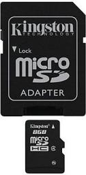 Karta Kingston MicroSDHC 8GB Class 4 + adapter (SDC4/8GB)
