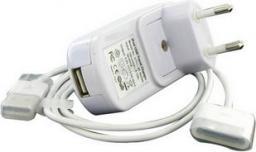 4World iPhone/iPod zestaw do ładowania USB + sieć 230V Biały (05409)