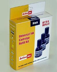 Activejet tusz UK-1  3x30 ml (black) + płyn do czyszczenia głowicy 1x30 ml