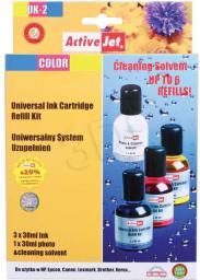Activejet tusz UK-2 / 3x30 ml +płyn do czyszczenia głowicy 1x30 ml (cyan, magenta, yellow)