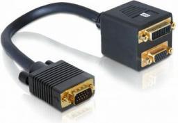 Kabel Delock DVI-I D-Sub (VGA), 0.18m, Czarny (65068)