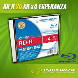Esperanza BluRay BD-R 25GB x4 - Slim case 1 szt.