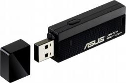 Karta sieciowa Asus USB-N13 bezprzewodowy adapter WiFi N300, IEEE 802.11b/g/n, USB 2.0, trasfery do 300Mbit/s