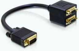 Kabel Delock D-Sub (VGA) x2 D-Sub (VGA), 0.18m, Czarny (65060)