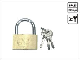 Vorel Kłódka mosiężna 25mm 3 klucze (77250)