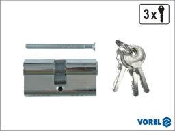 Vorel Wkładka chromowana 62mm 3 klucze 31/31 77170