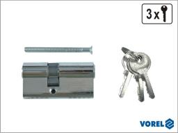 Vorel Wkładka asymetryczna chromowana nawiercana 67mm 3 klucze 31/36mm 77171
