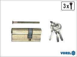 Vorel Wkładka asymetryczna mosiężna 67mm 3 klucze 31/36mm 77204