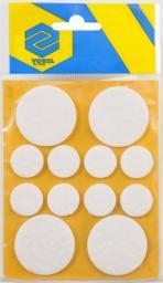 Vorel Podkładki filcowe okrągłe białe mix 20mm 38mm białe 12szt. 74838