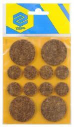 Vorel Podkładki filcowe okrągłe brązowe mix 20mm 38 mm 12szt. 74858